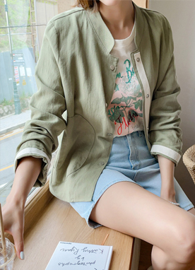 Inner Taped China Collar Varsity Jacket, Styleonme