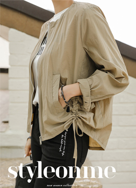 Side Drawstring Light Bomber Jacket, Styleonme