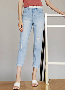 Vintage Frayed Comfy Semi Baggy Cropped Jeans, Styleonme
