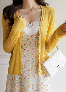 4 Color Linen Blend Light Cardigan, Styleonme