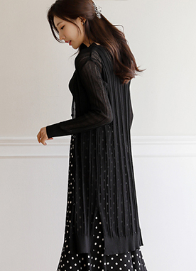 Sheer Slim fit Long Cardigan, Styleonme
