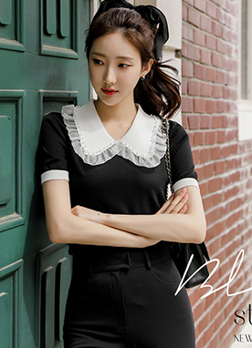 Wide Pearl Collar Slim fit Knit Top , Styleonme