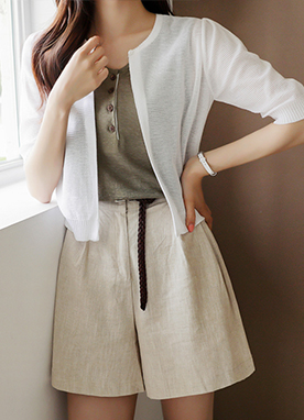 Half Sleeves Stripe Sheer Cardigan, Styleonme