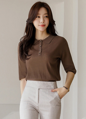 3 Color Natural Collared Knit Top, Styleonme