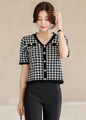 Hound Check Short Sleeves Cardigan, Styleonme